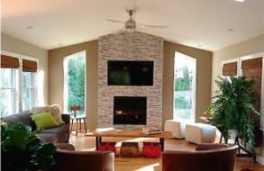 Fireplace wall gives a finish to the 1st floor